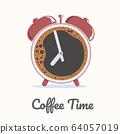 Coffee time alarm clock vector 64057019