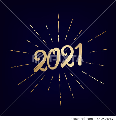 2021 Happy New Year vintage lettering text 64057643