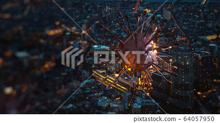 Image of covid-19 virus cell (coronavirus 2019) above in the city night. Concept of spread of the virus in big city, 3d rendering background 64057950