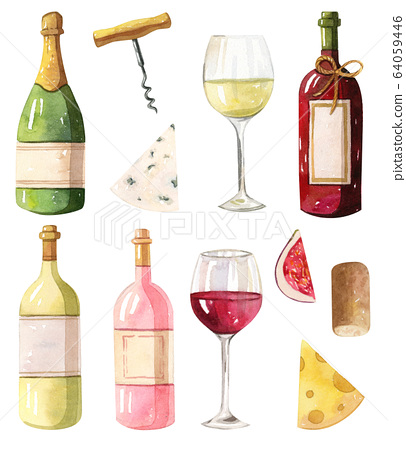 Watercolor Illustration Wine Bottles Red Stock 64059446 Pixta