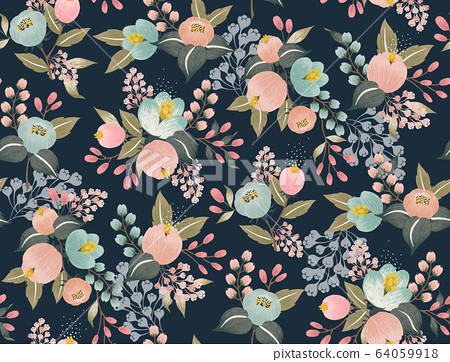 Vector illustration of a seamless floral pattern with spring flowers.  64059918