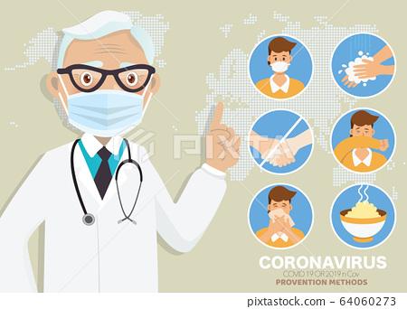 Coronavirus (COVID-19)preventions. Doctor explain 64060273