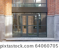 Blank black rectangular box store entrance mockup, glass brick wall 64060705
