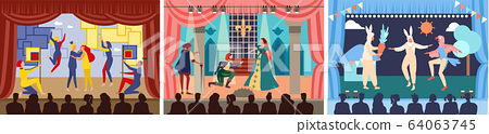 Actors on theater stage vector illustration, cartoon character play act or scene of drama show in theatre, theatrical performance set 64063745