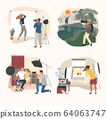 Studio or outdoor photographer vector illustration, cartoon flat adult people with camera making photo, photography set isolated on white 64063747
