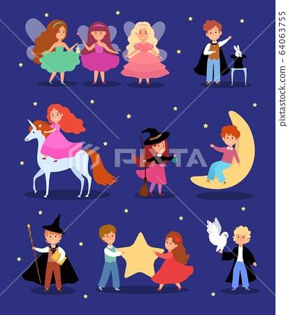 Magic kid in fairytale costume vector illustration, cartoon cute magician child character, flat fantasy magical children set 64063755