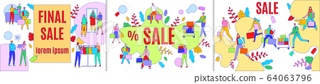 Final sale advertising vector illustration, advertisement of discount offer for people buyers with shopping cart or bag banner set 64063796