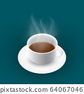 Steaming hot coffee. 64067046