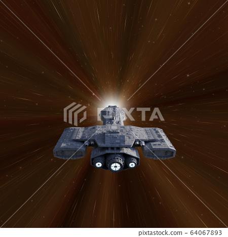Battle Cruiser Spaceship Travelling through Hyperspace 64067893