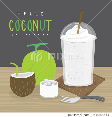 Coconut Juice, Drink Coconut Water and and half slice coconut vector.  64068213
