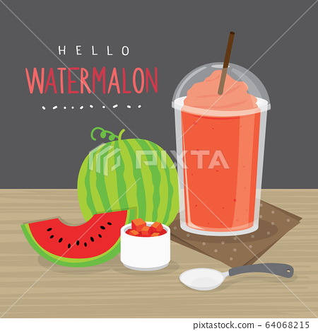 Watermelon Juice, Drink Watermelon Water and half slice watermelon vector.  64068215