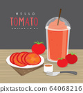 Tomato Juice, Drink Tomato Water and half slice tomato vector.  64068216