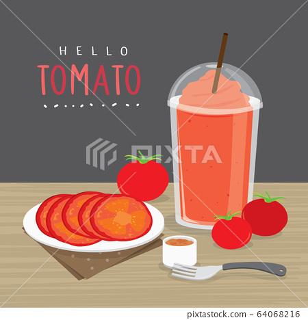 Tomato Juice, Drink Tomato Water and half slice tomato vector.  64068216