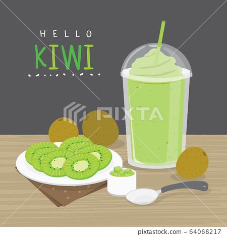 Kiwi Juice, Drink kiwi Water and half slice Kiwi vector.  64068217