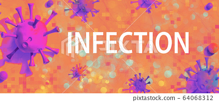 Infection theme with viral objects 64068312