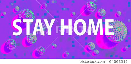 Stay at home theme with viral objects 64068313