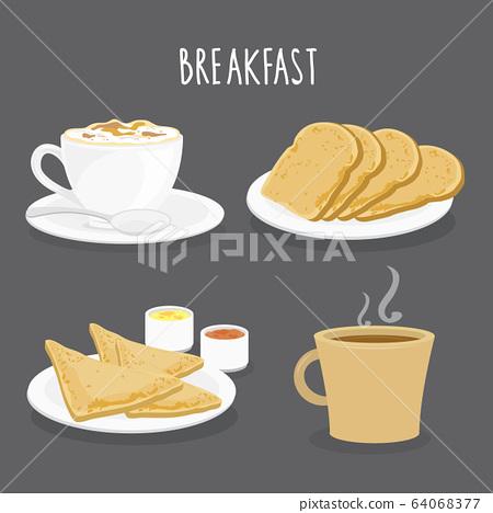 Set of Breakfast, Coffee and Bread Toast. Cartoon Vector 64068377