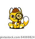 Vector illustration of a cat detective. Mascot cat 64069824