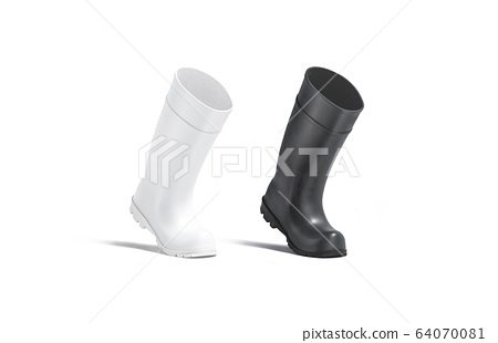 Blank black and white rubber wellington boots mock up, isolated 64070081