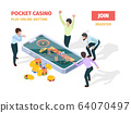 Online casino. Winners lucky happy people playing roulette blackjack gambling on smartphones and tablets vector isometric gaming concept 64070497
