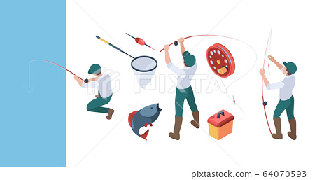 Fishing isometric. Fisherman with spinning in action poses sitting in rubber boat sport fishing hobbies vector people set 64070593