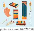 Burning matches. Safety packages for matchstick wooden stick flame symbols vector illustration in cartoon style 64070650