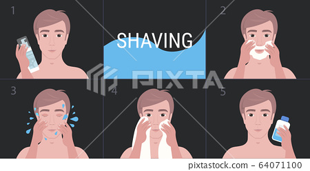 steps handsome man shaving with foam and cleaning face skin care concept portrait 64071100