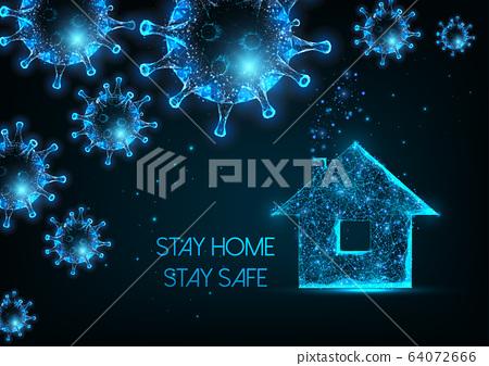 Working from home, self quarantine due to coronavirus pandemic concept 64072666