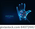 Futuristic stop coronavirus concept with glowing low polygonal human hand and virus cell 64072682