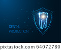 Futuristic dental protection concept with glowing low polygonal molar tooth and protective shield 64072780