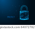 Futuristic cyber security concept with glowing low polygonal padlock with a key hole 64072782