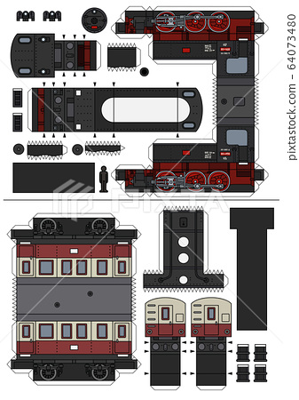 The paper model of a vintage steam train 64073480