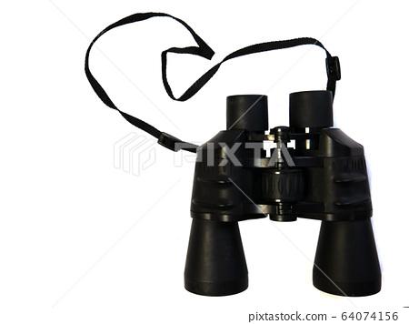 Close-up binoculars on a white background.  64074156