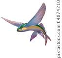 Flying fish yellow green  jumping and flying on white 64074210
