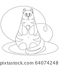 Funny colorless fat cat with a small heart 64074248
