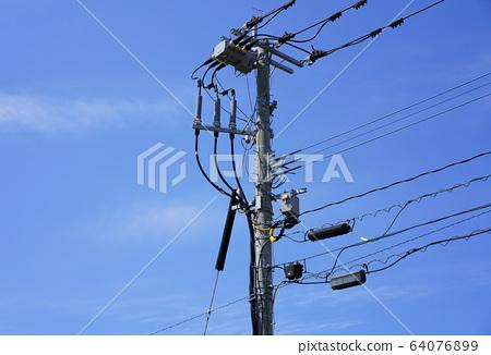 Japanese concrete telephone pole, electric telephone wiring 64076899