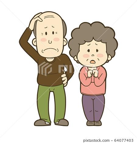 Elderly people feeling anxious-men and women 64077403