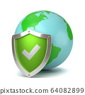 Earth Protected by a Green Metallic Shield with Tick Symbol 64082899