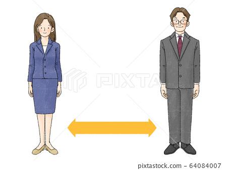 社交距離(2人,直立,箭頭) 64084007