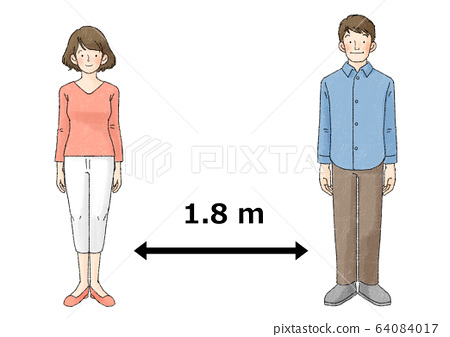 Social distance (2 people, upright, arrow, 1.8m) 64084017
