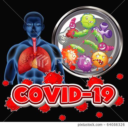 Coronavirus theme with human and virus cells in 64086326