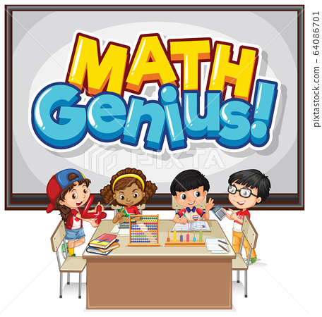 Font design for word math genius and happy 64086701