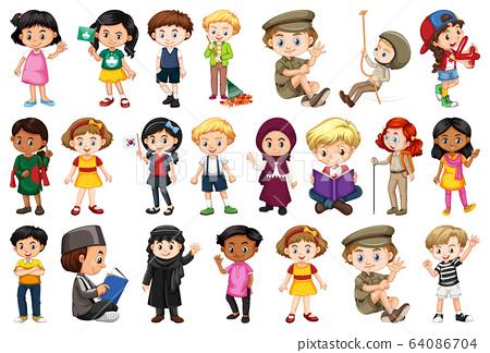 Large set of children doing different activities 64086704