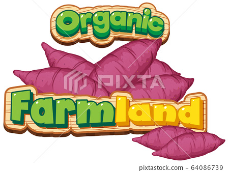 Font design for word organic farmland with sweet 64086739