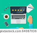 Review rating testimonials online on laptop computer workplace, customer evaluate testimony feedback experience concept desk top view vector flat cartoon, person asses rate reputation stars on pc 64087036