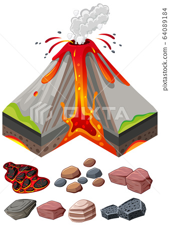 Different types of rocks and volcano eruptions 64089184