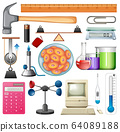 Set of science equipments on white background 64089188