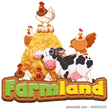 Font design for farmland with many farm animals 64089210