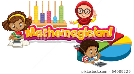 Font design for word mathemagician with three kids 64089229