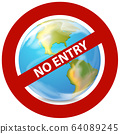 Poster design for coronavirus theme with no entry 64089245